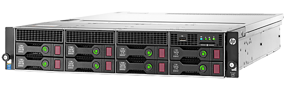 HPE ProLiant DL80 Gen9 rack server with one Intel® Xeon® E5-2620 v4 processor, 8 GB memory, HPE Smart Array P440 with 2 GB flash-backed write cache, eight large form factor drive bays, and 900W power supply